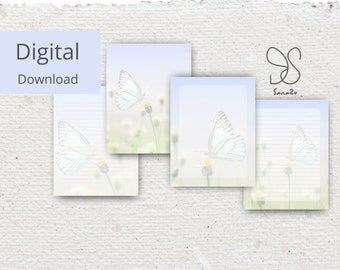Vlinder papier, butterfly stationary set printable stationary paper pack, printable butterfly notes pages, butterfly writing paper, journal