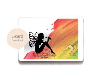 Regenboog fee animatie-card, elf with flower greeting card, fairy magic gift card, fairy silhouette magical wish card, boselfje, elf kaart