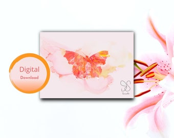 Vlinder vleugels kaart, butterfly painting greeting, handmade butterfly lover party gift card, Abstract butterfly silhouette painted insect