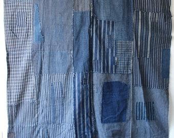 ZANSHI fabric Japanese vintage cloth 130x122cm  boro
