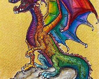 Rainbow Dragon watercolor