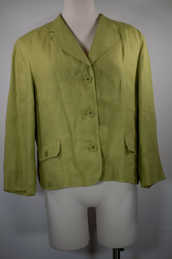 Vintage 90's Talbots Chartreuse Irish Linen Blazer