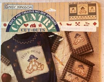 Vintage Daisy Kingdom Teddy Bear  Fabric Panel Country Cut Outs New - Vintage Daisy Kingdom Country Cut Outs