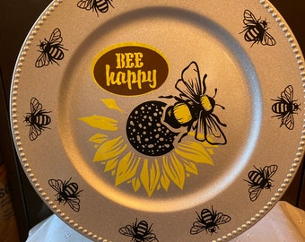 """Bee Happy 13"""" Decorative Plate - Spring Bee Plate"""