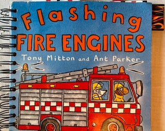 Flashing Fire Engines Children's Journal Book - Repurposed Journal - Two Complete Vintage Books Included