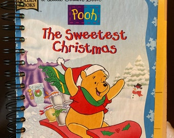 Pooh The Sweetest Christmas a Little Golden Book Christmas Journal - A Vintage 1996 Little Golden Book Recrafted Journal