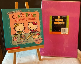 Scholastic Hello Kitty Craft Foam  Activity Book with a pack of 8 Different Color Foam Sheets - Hello Kitty and Friends Crafts Club