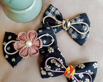 Japanese kimono Design Hair Bows (set A), Kimono bows, Japanese bows, Asian bows