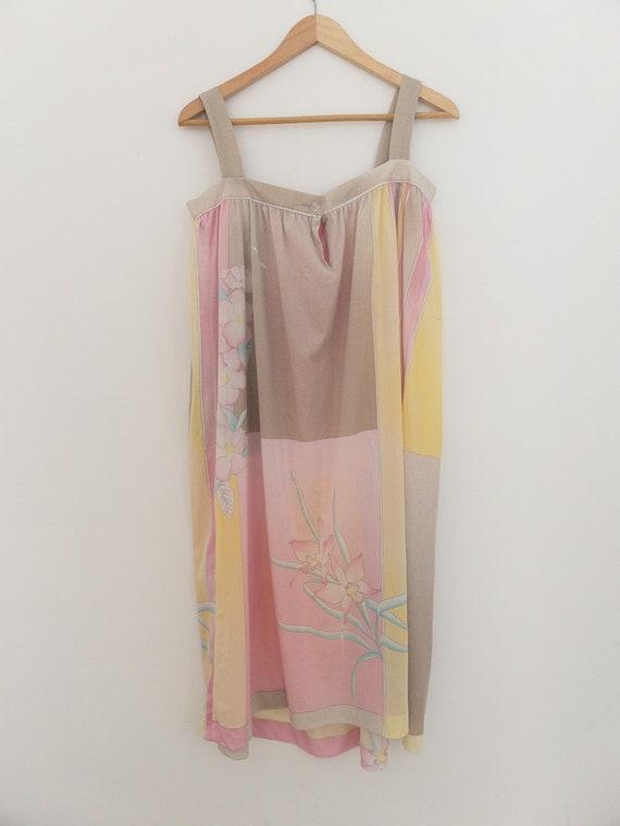 VINTAGE summer silky floral pastel dress, beach c… - image 3