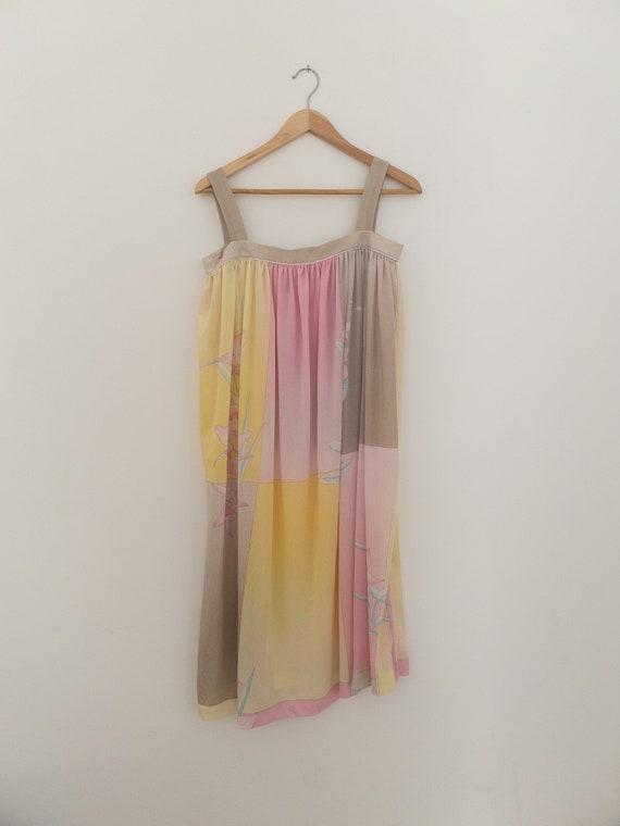 VINTAGE summer silky floral pastel dress, beach c… - image 5