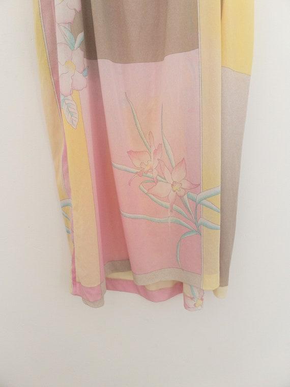 VINTAGE summer silky floral pastel dress, beach c… - image 6