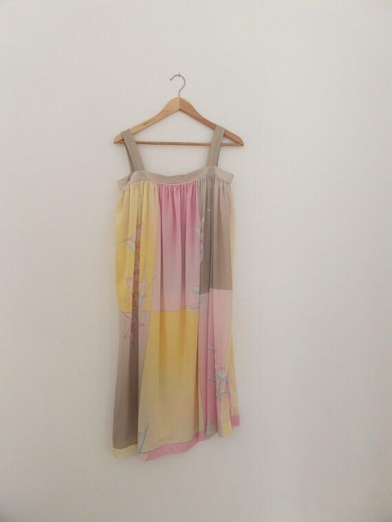 VINTAGE summer silky floral pastel dress, beach c… - image 4