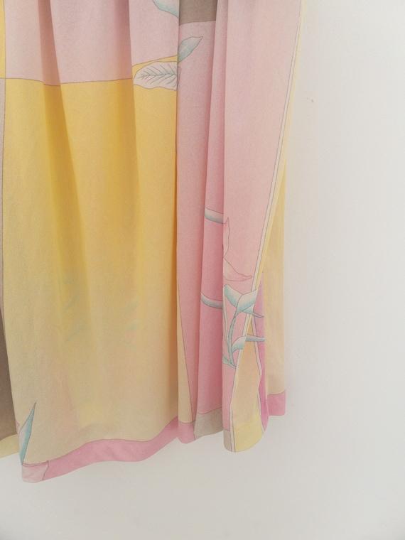 VINTAGE summer silky floral pastel dress, beach c… - image 9