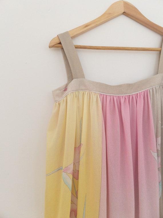 VINTAGE summer silky floral pastel dress, beach c… - image 8