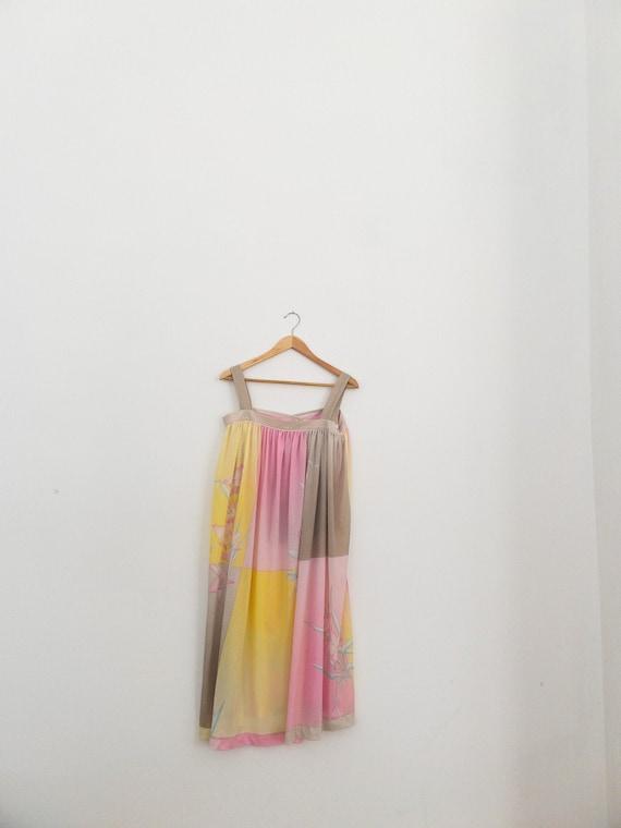 VINTAGE summer silky floral pastel dress, beach c… - image 2