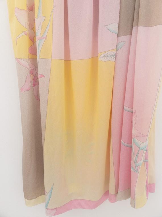 VINTAGE summer silky floral pastel dress, beach c… - image 10