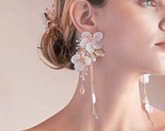 Floral Wedding Earring, Bridal Hair Comb, Chandelier Bridal Earring, Wedding Hair Comb, Pearl Earrings, Wedding Jewellery Set, Jewelry Set