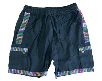Mens Cotton Cargo Shorts Handmade Boho Beach Pants Hippie Womens Summer Outfit