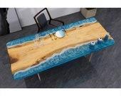 Custom Epoxy Resin River Ocean Wave Resin Walnut Plank Dining Bar Table Counter Desk Coffee Table