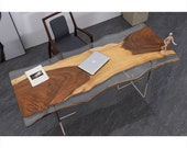 Custom Epoxy Resin Clear Ocean Wave Resin Coffee Table Walnut Plank Bar Dining Table Counter Desk Coffee Table