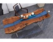 Custom Epoxy Resin Clear Ocean Wave Resin Coffee Table Bubinga Plank Bar Dining Table Counter Desk Coffee Table