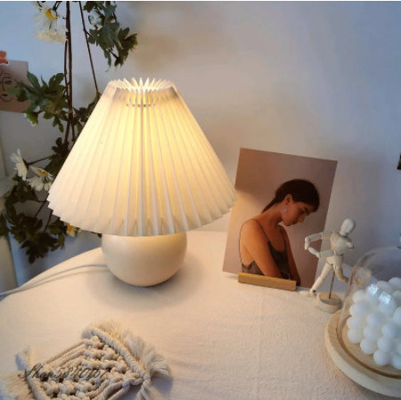 Korean Pleated Table Lamp Ins DIY Ceramic Table Lamps for 1