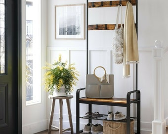 Hall Tree Hat and Coat Stand Hallway Shoe Rack Bench with Shelves Hooks