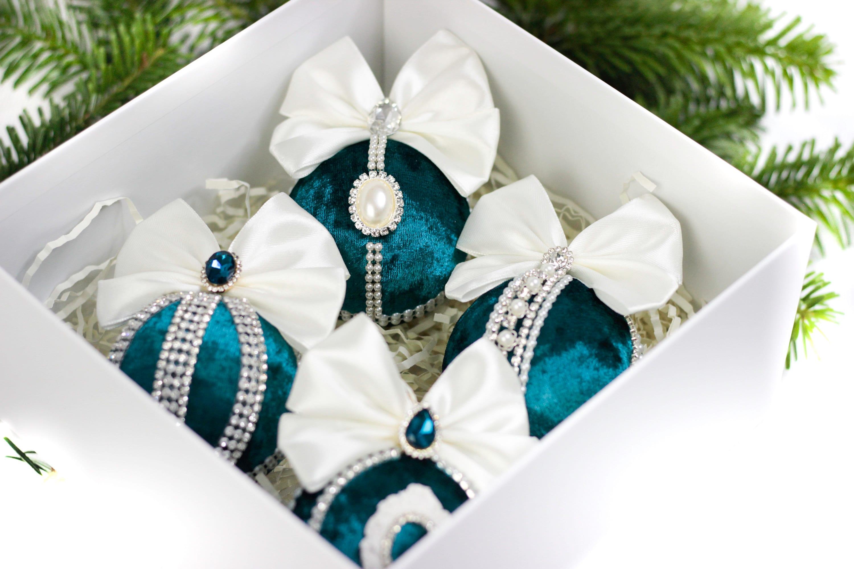 Christmas Velvet Rhinestone Ornaments/ Christmas Ornaments/ Tree Decor Set/ Handmade Christmas Ornaments