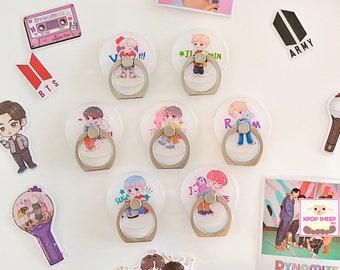 BTS BT21 Phone Ring Holder Cute Cartoon V Jimin Jin Jungkook RM Suga J-Hope