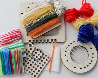 Multi craft fibre kit,Montessori craft,Easy cross stitch,Round mini loom,Square mini loom,Diy fibre craft kits, kids craft,Weave,Mini looms.