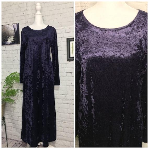 Vintage 90's Dress | Purple Velvet | Long Sleeve … - image 1