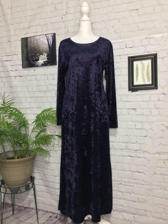 Vintage 90's Dress | Purple Velvet | Long Sleeve … - image 2