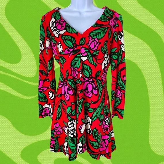 Vintage 60s 70s Groovy Gogo Mod Dress - image 1