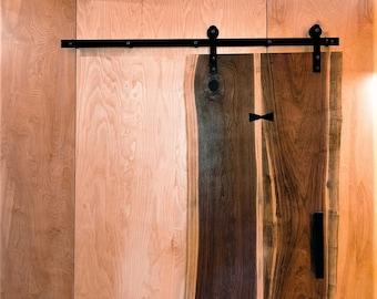 Custom Barn Door | Handmade Oversized Walnut Sliding Barn Door | Butterfly Joinery | Live Edge Barn Door | Ergonomic Door Hardware