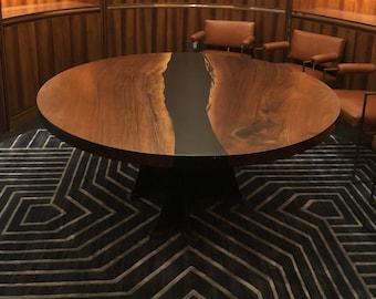 Parlor Table | Custom Hardwood Epoxy Table | Circular Wooden Table | Sustainable Resin Table | Custom Wood Furniture