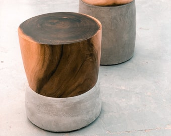 Monkeypods | Handmade Modern Concrete and Wood End-Table | Sustainable Wood Furniture