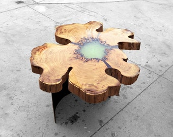 BeeHive Table | Unique Epoxy and Wood End Table | Sustainable Live Edge Table | Resin and Hardwood Coffee Table
