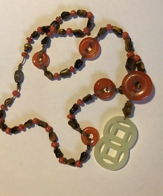 Necklace Chinese I Ching Coin Pearls Handmade Jewelry African Brass Heishi Chinese Good Luck Coin Pearl Bead Necklace