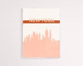 Screenprint Pop Art Deco Red NYC Skyline New York City Art Print