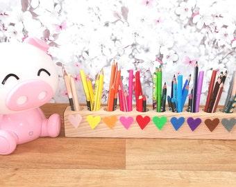 Pen Holder Pen Box Desk Organizer Sorter Montessori Waldorf Wood Fine Motor Skills Colors Heart Gift Drawing Painting Crayons eco