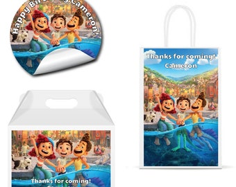 Luca - PRINTED GLOSSY LABELS - For Party Favor Bags, Gable Boxes, Gift Bags, Round Square Stickers