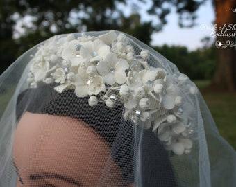 Adaiah ~ Handmade wedding bridal tiaras, crowns, hair accessories, white, anniversary, baby shower , Diadem,handcrafted,exclusive.quincenera