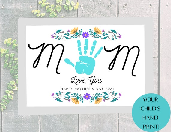 Happy Mother's Day MOM Love You Child's Handprint