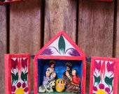 Miniature Wooden Christmas Nativity house, Bolivian folk art diorama with opening doors