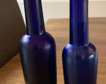 X2 Antique Cobalt Blue Castor Oil Bottles
