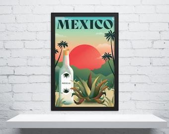 Retro Mexico Travel Poster, Mexico Travel Art, Vintage Travel Poster