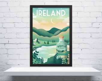 Retro Ireland Travel Poster, Ireland Travel Art, Vintage Travel Poster