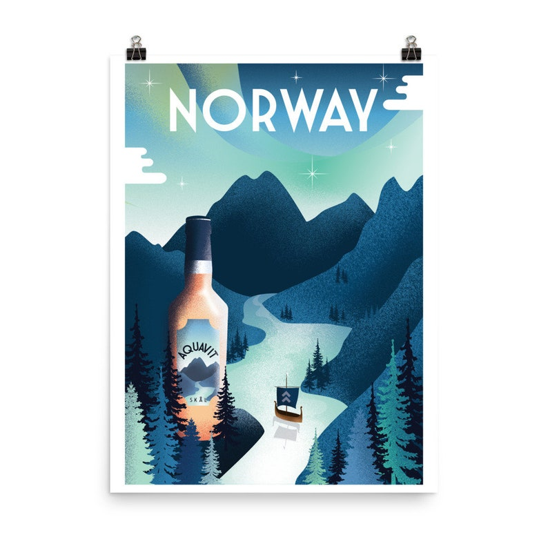 Retro Norway Travel Poster Aquavit Poster Scandinavia Travel image 0