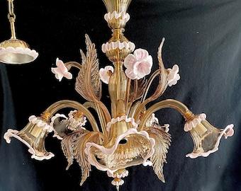 Smoked Murano glass chandelier