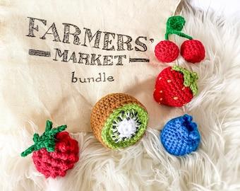 Crochet Fruit - Berries - Farmers Market Bundle, Set of 5 - crochet strawberry, blueberry, raspberry, cherries, kiwi - toys for baby/toddler